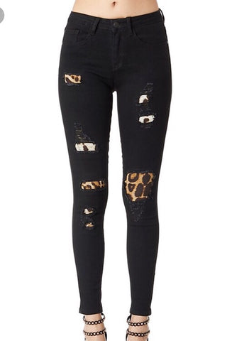 Black Leopard Patch Skinny Jeans by Judy Blue