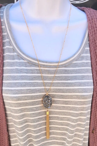 Necklace  - Druzy Pendant Necklace with Chain Tassel