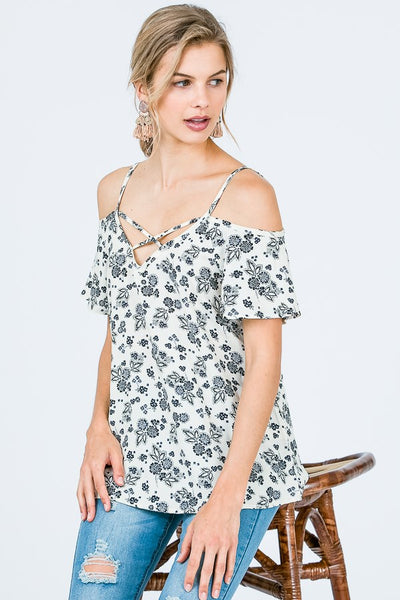 Elle - Open Shoulder Spaghetti Strap Top (S-L)