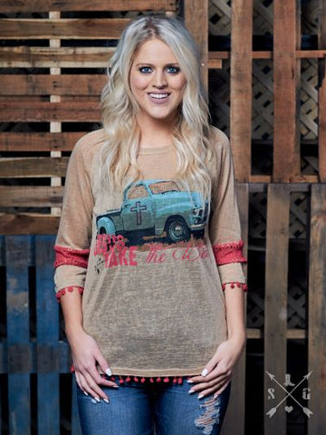 Jesus Take the Wheel Tunic-Graphic Tee-Moonshine and Lace Boutique