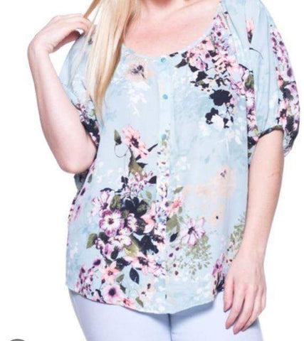 Floral Blouse in Mint or Purple/Mauve CURVY-Tops/Tunics-Moonshine and Lace Boutique