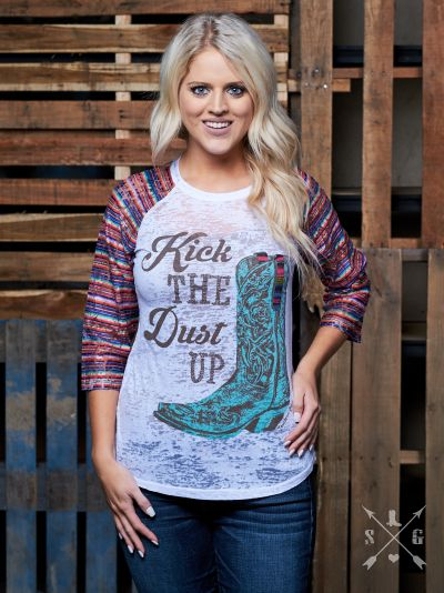 Kick the Dust Up Raglan-Graphic Tee-Moonshine and Lace Boutique