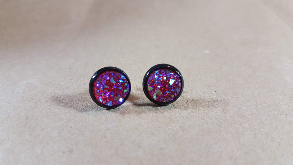 Bezeled Earrings - Dark Magenta-Jewelry-Moonshine and Lace Boutique