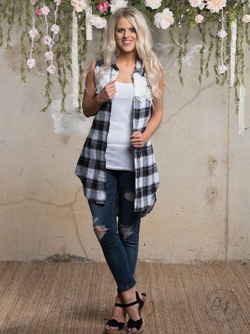 Plaid Sleeveless Vest with Lace Back Accent-Kimonos/Cardigans/Vest/Shawls/Jackets-Moonshine and Lace Boutique