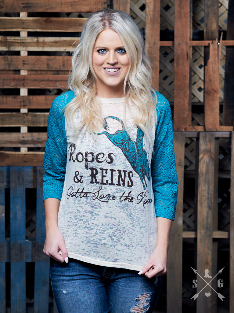 Ropes & Reigns Gotta Love the Rodeo Raglan-Graphic Tee-Moonshine and Lace Boutique