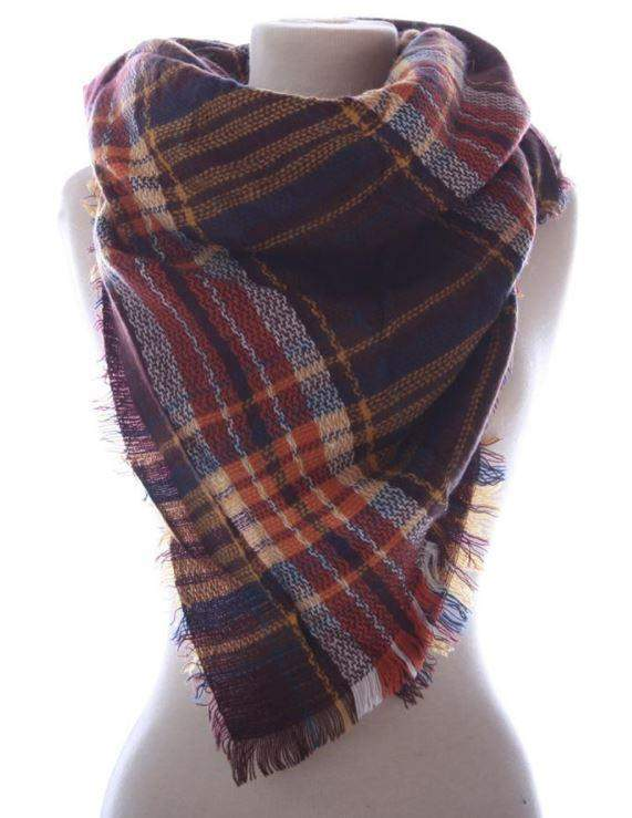 Plaid Blanket Scarf-Accessories-Moonshine and Lace Boutique