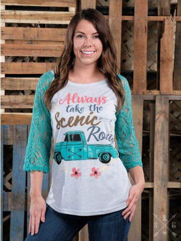 Always Take the Scenic Route Baseball Graphic Tee-Graphic Tee-Moonshine and Lace Boutique