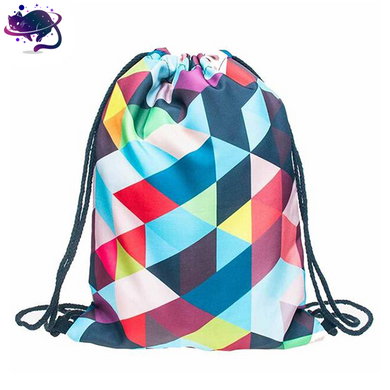 3D Block Design Drawstring Bag