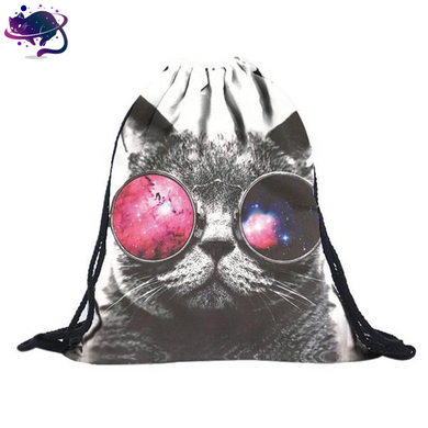 Trippy Cat Drawstring Bag