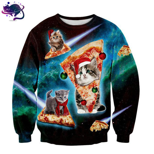 Pizza Cat Christmas Sweater - UltraRare