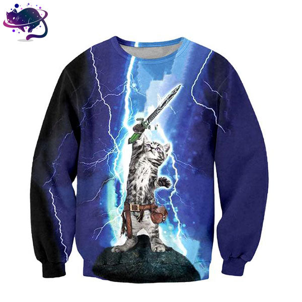 Lightning Cat Warrior Crew Neck - UltraRare