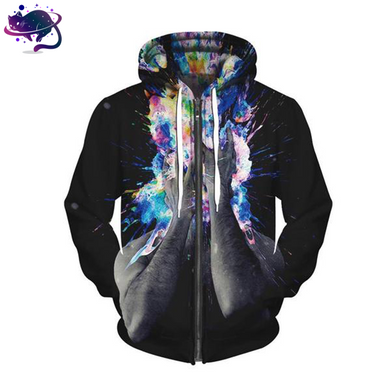 Color Splash Zipper Hoodie