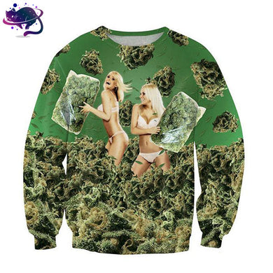 Sexy Girls Playing With Weed Crew Neck