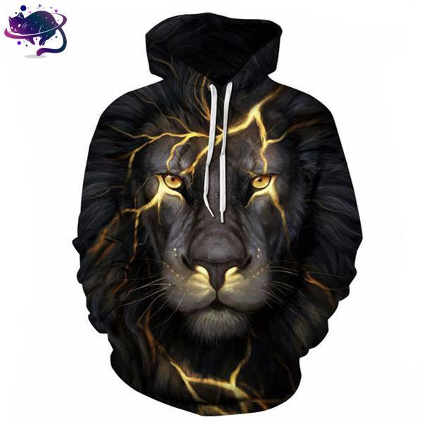 Gold Lightning Lion Hoodie - UltraRare
