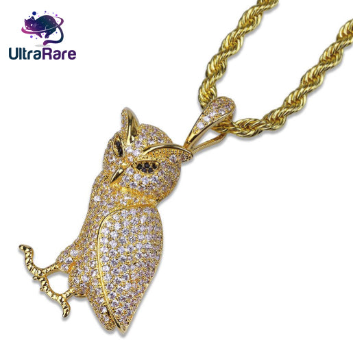 Iced Out Gold Owl Chain