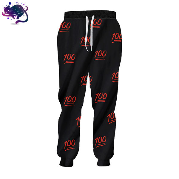 Black & Red 100 Emoji Joggers - UltraRare