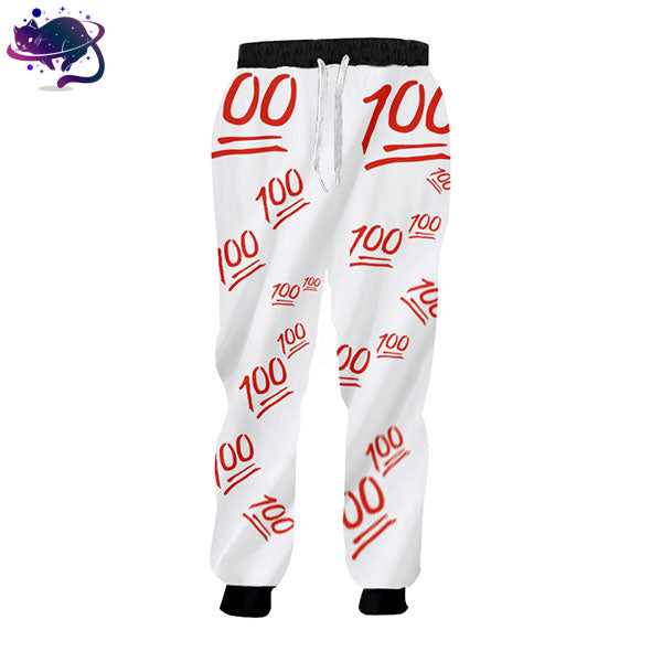 Black, Red & White 100 Emoji Joggers - UltraRare