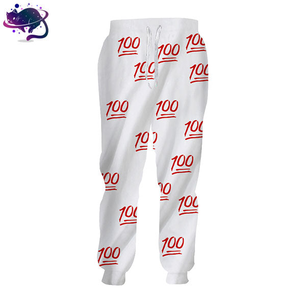 White & Red 100 Emoji Joggers - UltraRare