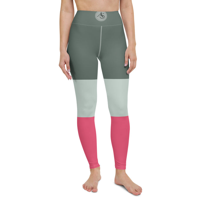 Pink tricolor high-waist Leggings