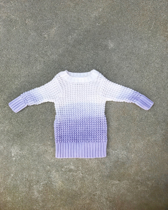 Lavender Ombre Chunky Cable Knit Sweater