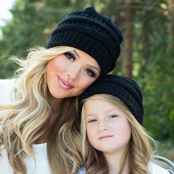 Mommy & Me Ribbed Knit Beanies