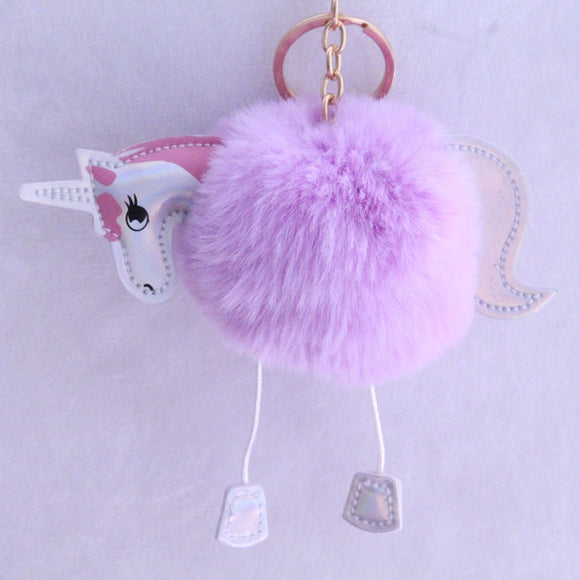 Unicorn Puff Keychain