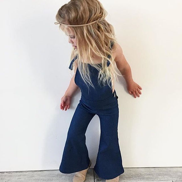 Denim Bell Bottom Overalls