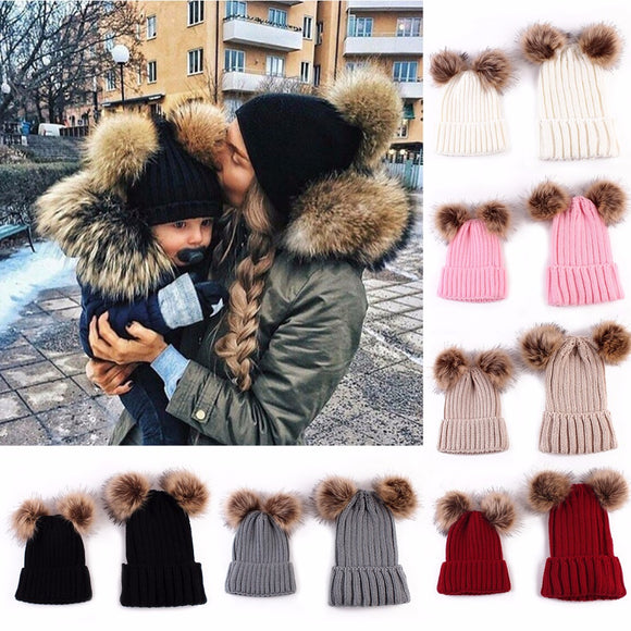 Mommy & Me Double Pom Pom Beanie