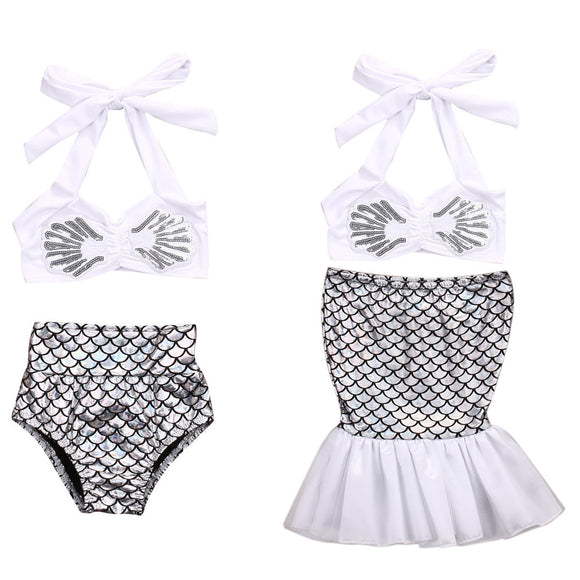 Retro Mermaid Two Piece Bathing Suit Costume
