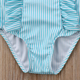 Ruffle Striped Swimwear Bathing Suit