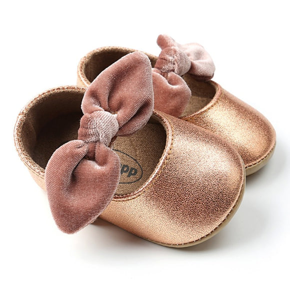 Velvet Bow Baby Shoes