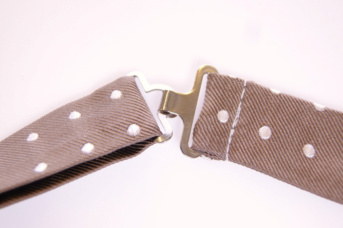 Beige Polka Dot Silk Made in Italy Bowtie Tie
