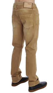 Beige Wash Cotton Stretch Regular Fit Jeans