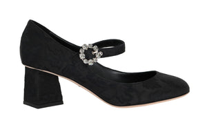 Black Canvas Leather Mary Janes Shoes