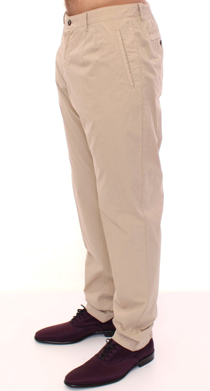 Beige Cotton Logo Chinos Pants