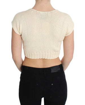 Beige Cotton Blend Knitted Sleeveless Sweater