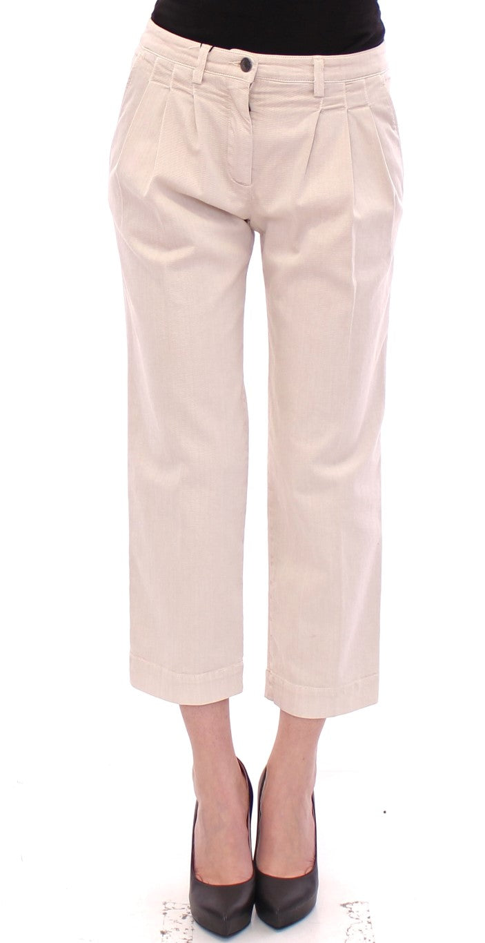Beige Cotton Cropped Jeans Pants