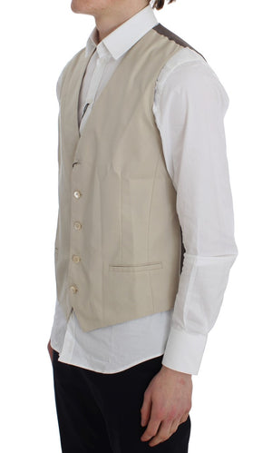 Beige Cotton Stretch Vest
