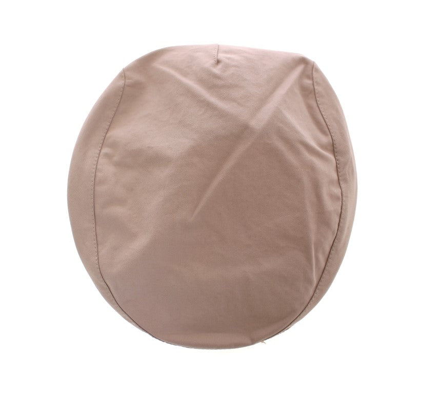 Beige Cotton Logo Newsboy Cap Hat