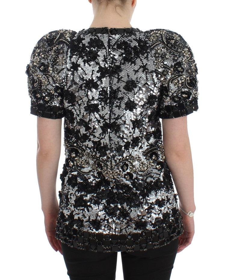 Black Clear Crystal Runway Blouse Top