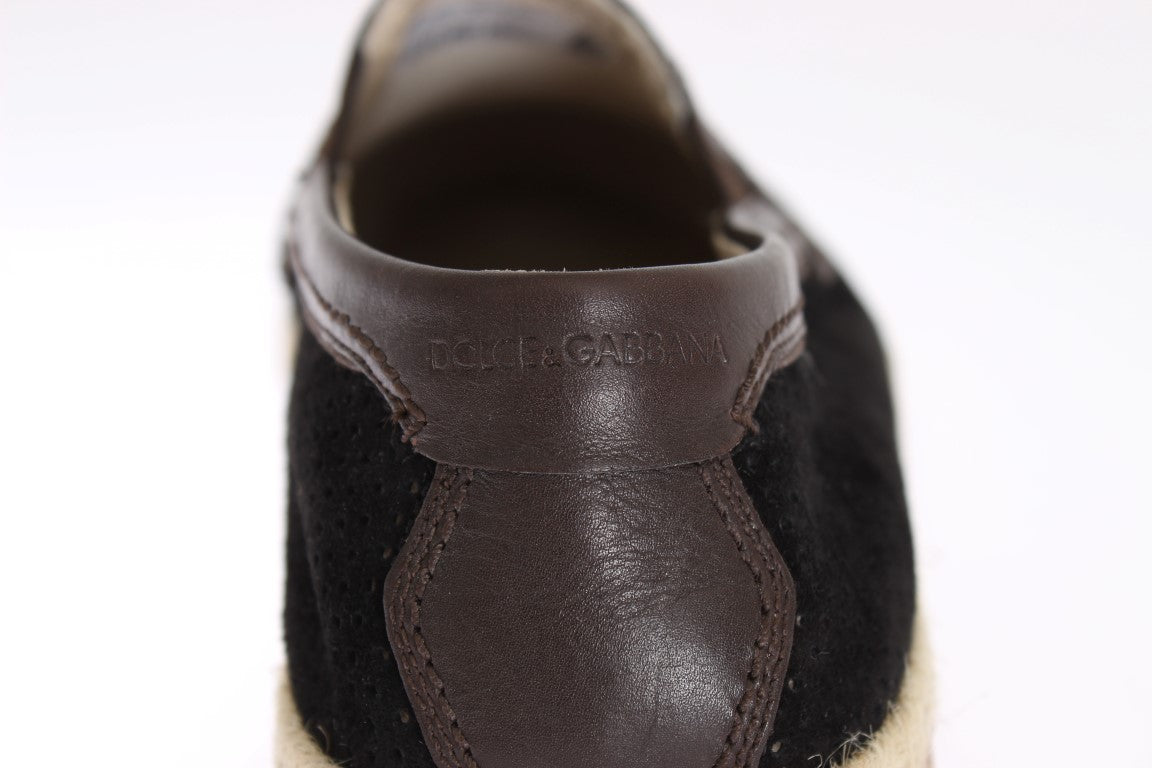Black Brown Leather Breathable Loafers