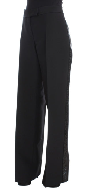 Black Cashmere Sequined Wide Legs Pants