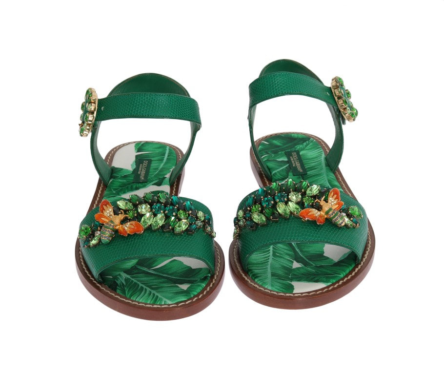 Banana Leafs Crystal Flats Sandals