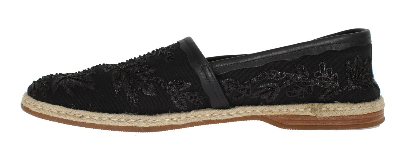 Black Beaded Sequin Floral Loafers