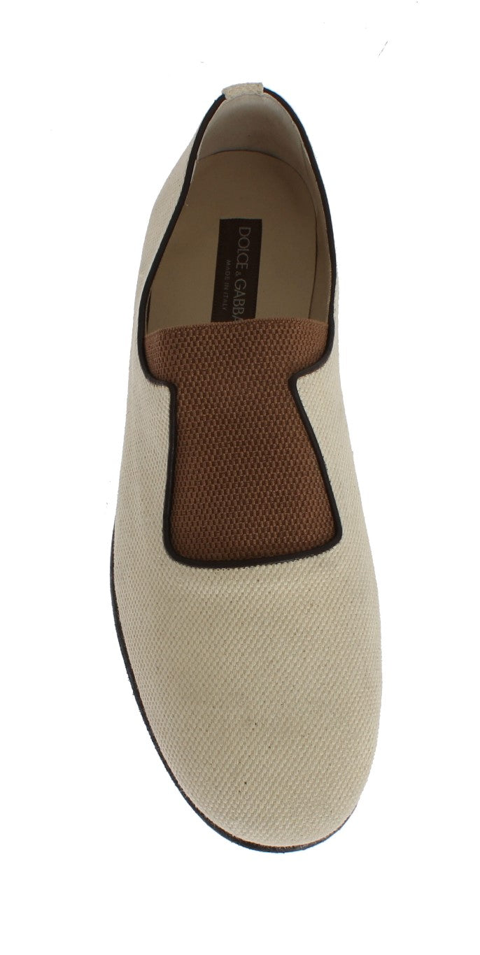 Beige Brown Canvas Slip-on Loafers
