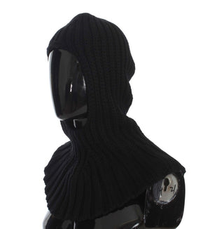 Black Cashmere Knitted Hood Scarf Hat