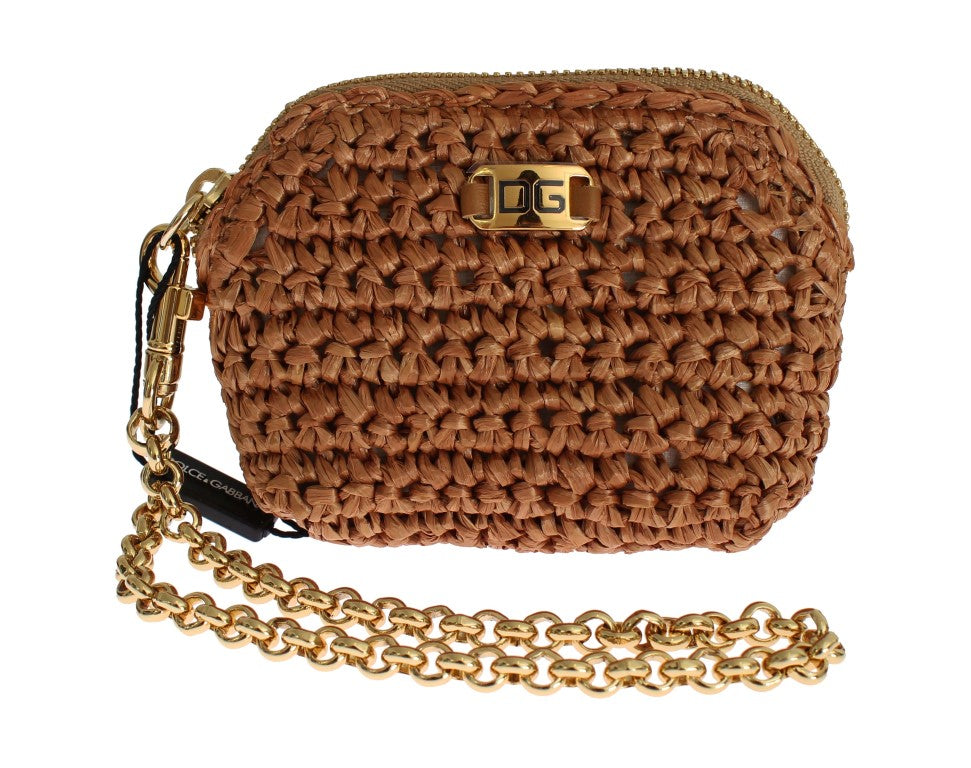 Beige Raffia Chain Wristlet Clutch Wallet Bag