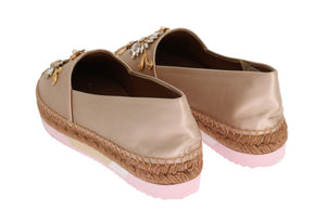 Beige Silk Raso Crystal Espadrilles Shoes