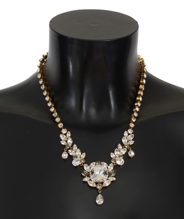 Gold Brass Clear Gray Crystal Sicily Necklace