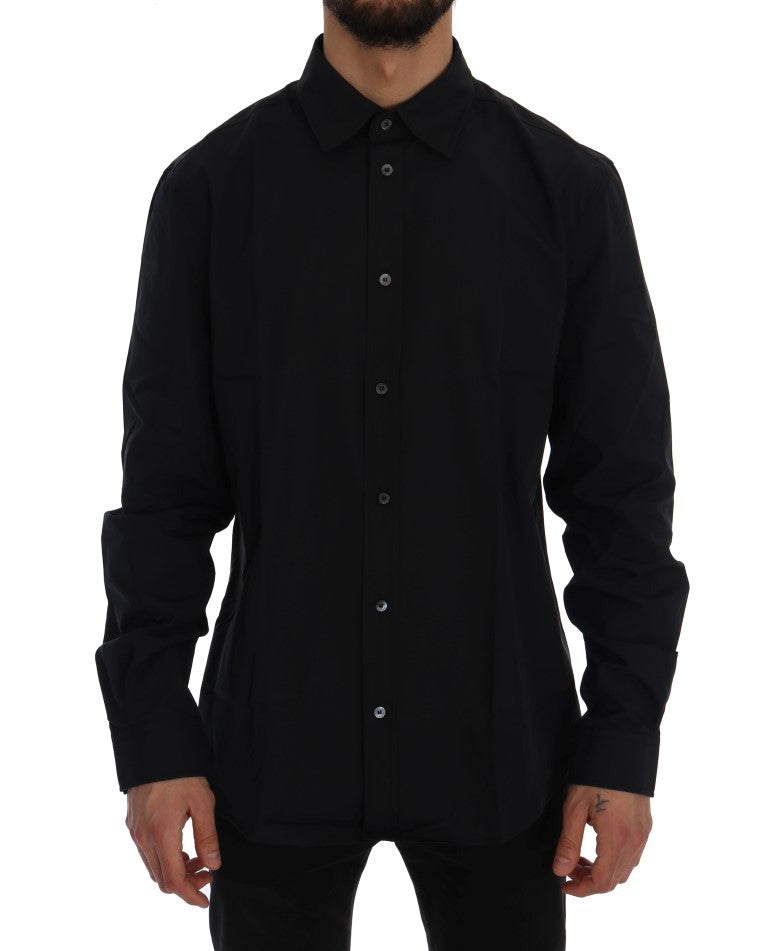 Black Casual Cotton Long Sleeve Shirt